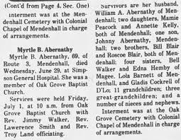 Myrtle Blair Abernathy Obituary 1977 The Magee Courier July 7, 1977. p. 26  - Newspapers.com