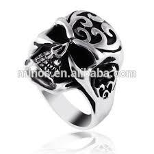 men s snless steel silver plated vine evil skull biker ring best wedding ring for export