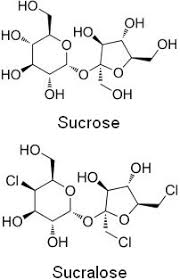 notice the difference between sucrose and sucralose
