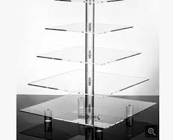 Acrylic Food Display Stands 100 Tier Acrylic Square Wedding Cake Stand Cupcake Stand Tower 3