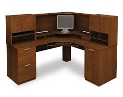 corner desk home office idea5000. Exellent Desk L Shaped Brown Wooden Corner Puter Desk With 2 Drawers And 1 CPU Throughout Home Office Idea5000