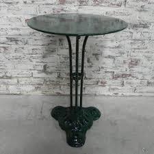 vintage steel bistro table on cast iron