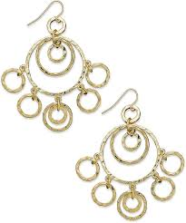 lauren ralph lauren gold tone hammered ring chandelier earrings web id 835751