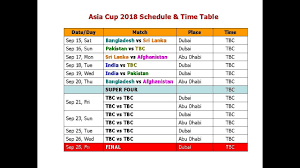 Asia Cup Chart Asia Cup 2018 Schedule Time Table