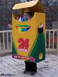 crayola box via costume works this cardboard crayon box is an impressive replica of the real thing complete with the sharpening hole on the side