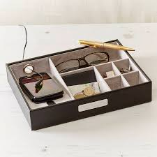 cufflink boxes coin trays notonthehighstreet com men s leather charging station and organizer