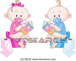 Clip Art Of Babies Potty Training K3719018 Search Clipart
