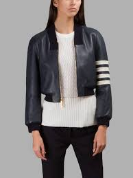 new arrival thom browne leather jackets for women navy cropped leather jacket uk