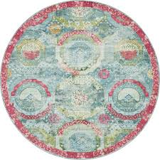 unique loom baracoa turquoise 8 4 x 8 4 round rug