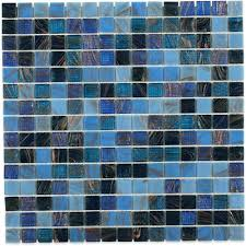 bahama blue 13 in x 13 in x 4 mm glass mosaic floor and