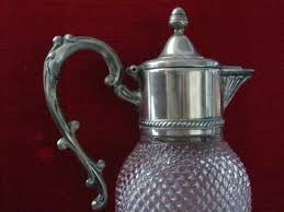 antique glass water pitcher silver plated diamond cut glass water pitcher apothecary decanter for antique