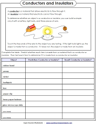 Electricity Worksheet - Conductors and Insulators