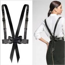 fashion bowknot leather harness waist belt straps adjustable metal buckle suspender belt women clothing accessories belt buckle weight belt