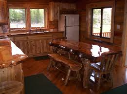 amazing wooden scheme kitchen design with varnished finish and wooden dining chair also bench plus wood