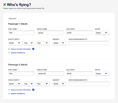 an image of a booking flow screenshot of entering the penger information on southwest