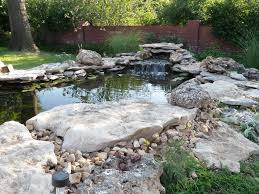 Lawn & Garden:Terrific Small Garden Pond Design Idea With Stone Waterfall  Also Red Brick