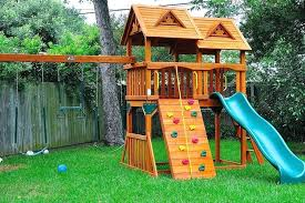diy kids climbing wall playground house with short climbing wall and built in slide beside outdoor diy kids climbing wall