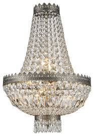 french empire 6 light antique bronze finish clear crystal basket mini chandelier