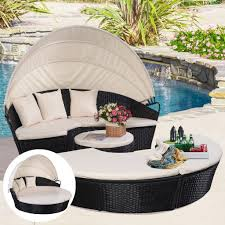 Round Outdoor Bed Rattan Round Daybed Garden Bed Outdoor Lounger Folding Canopy Sofa