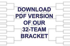 32 Team Bracket Single Elimination Printable Tournament