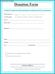 Printable Donation Form Template Charitable Donation Form Template Example Templates