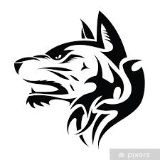 Nálepka Vlk Hlava Tribal Tetování Ilustrace Pixerstick
