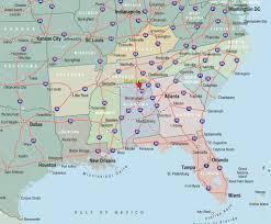 southeast us map major cities southeast usa wall map mapscom s e