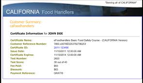 efoodhandlers training and testing   homesamples  california examples