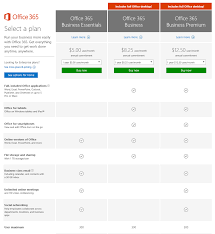 Office 365 Business Plans Comparison Chart O365 Small Business Plans Office Support Pricing Amazon Com