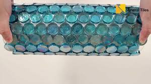 iridescent pool glass tile pale blue penny round 120keluex21330