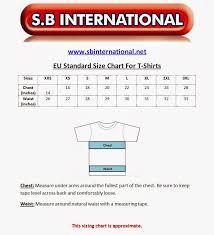 Size Charts For Apparel Sports Wear Eu Standard Size