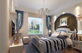 Interior:Mediterranean Interior Design Of The Study Room With Blue Windows  And Indoor Plant Retro