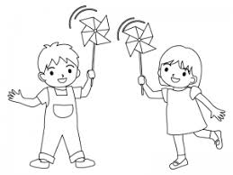風車で遊ぶ子どものぬりえ線画イラスト素材 イラスト無料
