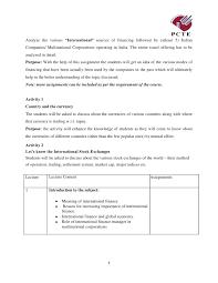 international finance course module assignment 4 2 3 analyze the various ldquointernationalrdquo sources of financing