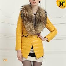 women fur leather coat yellow cw613582 cwmalls com