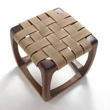 usona furniture. STOOL 06053 Walnut \u0026 Stitched Sueded Leather Woven Strapping--frame, Square, (via Usona Furniture, Philadelphia, PA) Furniture