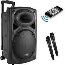 speakers karaoke. image is loading portable-rechargeable-karaoke-bluetooth-party-speaker-w-2- speakers karaoke