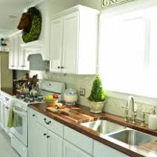 white country kitchen with butcher block. Delighful Country White Country Kitchen With ButcherBlock Countertops Intended Butcher Block