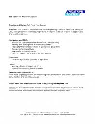 Cnc Operator Jobion Template Resume For Best Solutions Of Cover