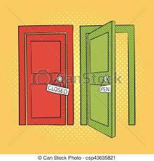 closed door drawing. Unique Door Vector Hand Drawn Pop Art Illustration Of Doors Open And Closed Door  Retro Style Sign For Print Web With Closed Door Drawing