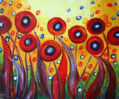 singing red poppy poppies abstract painting canvas