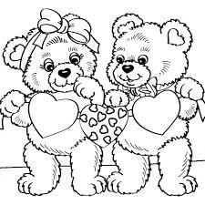 Disegno Di Orsacchiotti Con Cuori Da Colorare Per Bambini
