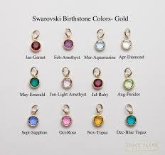 One Gold Plated Flat Swarovski Crystal Birthstone Charm