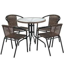 brown rattan table and chairs flash furniture round glass metal table with dark brown rattan edging