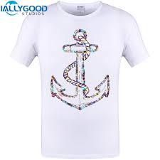 2017 Newest Multicolour Sea Anchor Print Men T Shirt Summer Short Tops Cool Design Hipster Tee Shirts Plus Size S 6xl Shirts Funny Designer White T