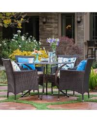 aluminum dining sets patio furniture. elk outdoor 5-piece circular aluminum dining set with cushions by christopher knight home ( sets patio furniture t
