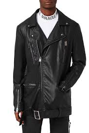 image of topman aaa collection longline faux leather biker jacket