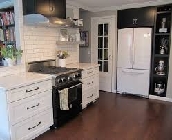 white fridge in kitchen. joyce\u0027s black and white kitchen 4. \u201c fridge in