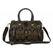 ... Coach Willis Lock Logo Signature Medium Coffee Luggage Bags BRG ...