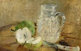 berthe morisot painting still life with a cut apple and a pitcher by berthe morisot